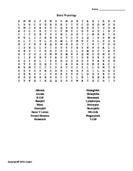 Blood Vocabulary Word Search for Physiology