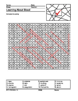 Blood Word Search and Word Scramble Printable Worksheets
