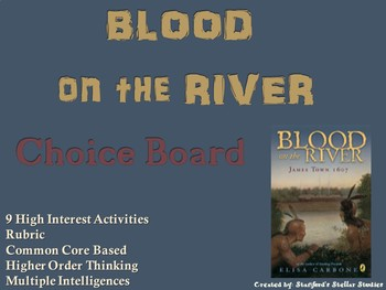 Blood on the River James Town Choice Board Novel Study Activities Menu