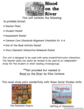 Blood on the River Novel Study Book Unit Printable Version