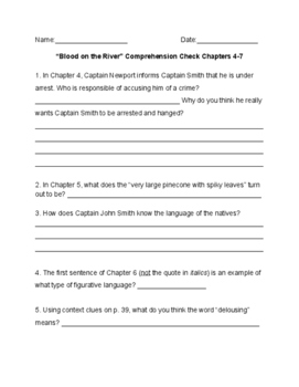 Blood on the River Quiz Chapters 4-7
