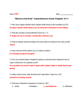 Blood on the River Quiz Chapters 10-11