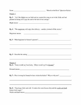 Blood on the River Quiz and Activity Packet