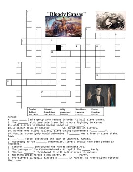 Bloody Kansas Crossword Puzzle or Web Quest