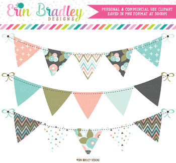 Bloom Bunting Clipart Banners