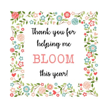 image relating to Thanks for Helping Me Bloom Printable identify Bloom Printable