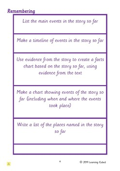 Blooms HOTs Fiction Reading Activity Cards