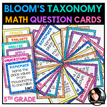 Bloom's Taxonomy 5th Grade Math Question Cards ALL STANDARDS 150 CARDS