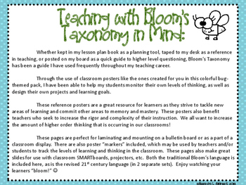 Bloom's Taxonomy Class Posters (Bug Insect Theme)