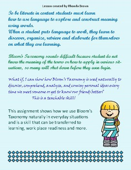 Bloom's Taxonomy/Conducting an Interview