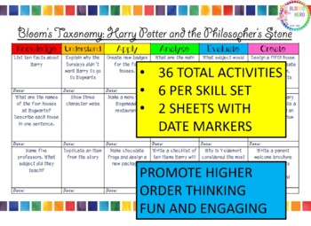 Bloom's Taxonomy Harry Potter and the Philosopher's Stone Activities