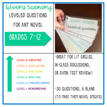 Bloom's Taxonomy Leveled Questions for ANY Novel