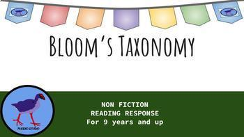 Bloom's Taxonomy Non Fiction Reading Response Resource