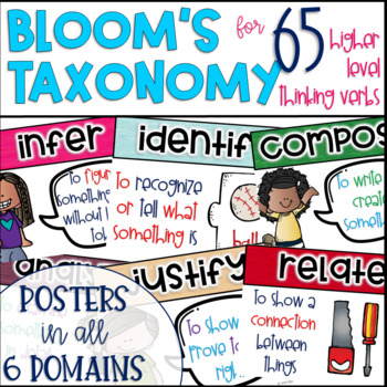 Bloom's Taxonomy Posters for Higher Level Thinking Skills {65 Verbs}