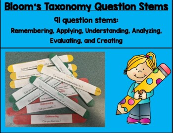 Bloom's Taxonomy Question Stem Task Cards Sticks