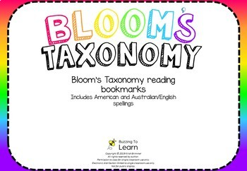 Bloom's Taxonomy Questioning Bookmarks
