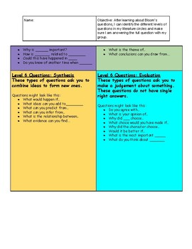 Bloom's Taxonomy Questioning: Student Friendly Descriptions
