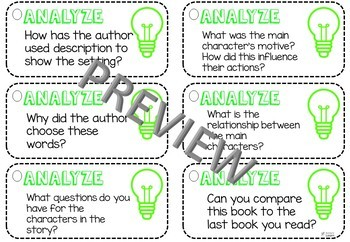 Bloom's Taxonomy - Reading Questioning Task Cards