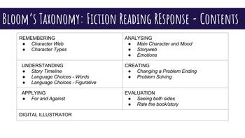 Bloom's Taxonomy Fiction Reading Response Resource