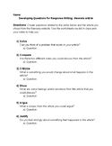Bloom's Taxonomy Response Writing Generating Questions Wor
