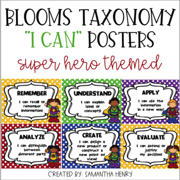 """Bloom's Taxonomy """"I Can"""" Posters"""