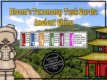 Bloom's Taxonomy  Task Cards: Ancient China
