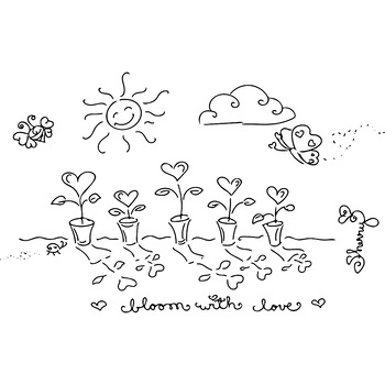 Bloom with Love Spring Valentine's Day Coloring Page, Clip Art