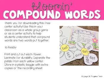 Bloomin' Compound Words Freebie