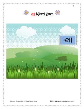 Bloomin' Flowers Short e Vowel Word Sorts - ell, -en, -ench, -end