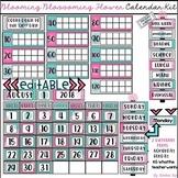 Editable Calendar Kit Blooming Blossoming Flower