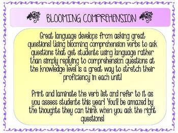 Blooming Comprehension Verbs