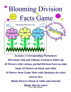 Blooming Division Facts Game for Whole Class, Math Center,