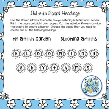 Blooming Rhythms - Rhythm Composition Worksheets & Bulletin Board Headings