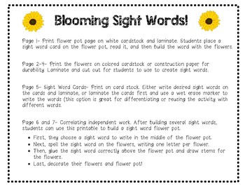 Blooming Sight Words