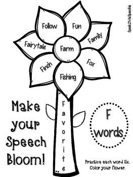 Spring Speech Articulation Flowers K, G, F, L, R, Blends, and more!