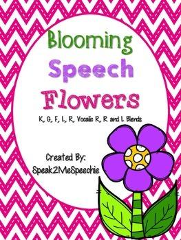 Spring Speech Articulation Flowers K, G, F, L, R, Blends,
