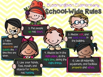 Bloomington Elementary School-wide Rules Single Poster Set