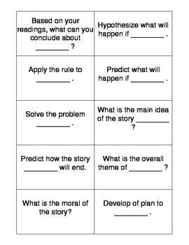 Blooms Higher Level Questioning Cards for Inferencing
