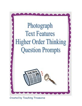 Blooms Higher Level Questioning Cards for Photograph Analysis