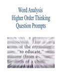 Blooms Higher Level Questioning Cards for Word Analysis