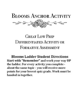 Blooms Ladder Anchor Activity