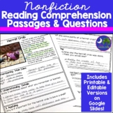 Nonfiction Reading Comprehension Passages & Questions Print and Go
