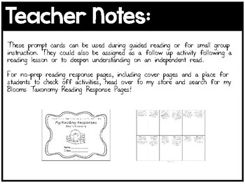 Blooms Reading Prompt Cards - Reading, Comprehension, Discussion (72 cards)