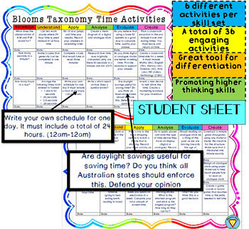 Blooms Taxonomy Advanced Time Activities