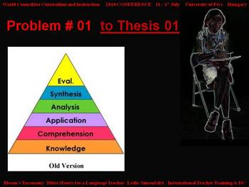 Bloom's Taxonomy: Bitter Honey for a Language Teacher - Problem # 01
