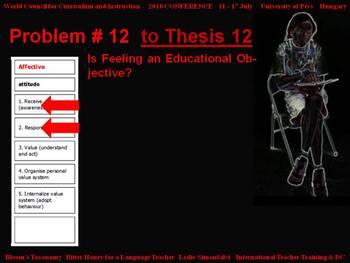 Bloom's Taxonomy: Bitter Honey for a Language Teacher - Problem # 12