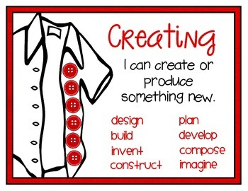 Bloom's Taxonomy Button Posters & Bookmarks