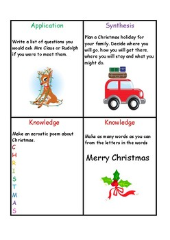 Blooms Taxonomy Christmas Task Cards