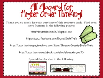 Train Bloom's Taxonomy Class Posters (All Aboard for Higher Order Thinking!)