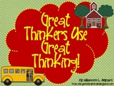 "Bloom's Taxonomy Class Posters (""Great Thinkers Use Great"